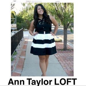 Ann Taylor Loft Black and White Striped Skirt